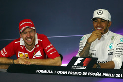 Race winner Lewis Hamilton, Mercedes AMG F1, second place Sebastian Vettel, Ferrari in the Press Conference