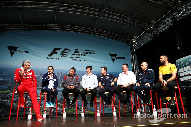 Maurizio Arrivabene, Ferrari; Monisha Kaltenborn, Sauber; Günther Steiner, Haas; Toto Wolff, Mercede