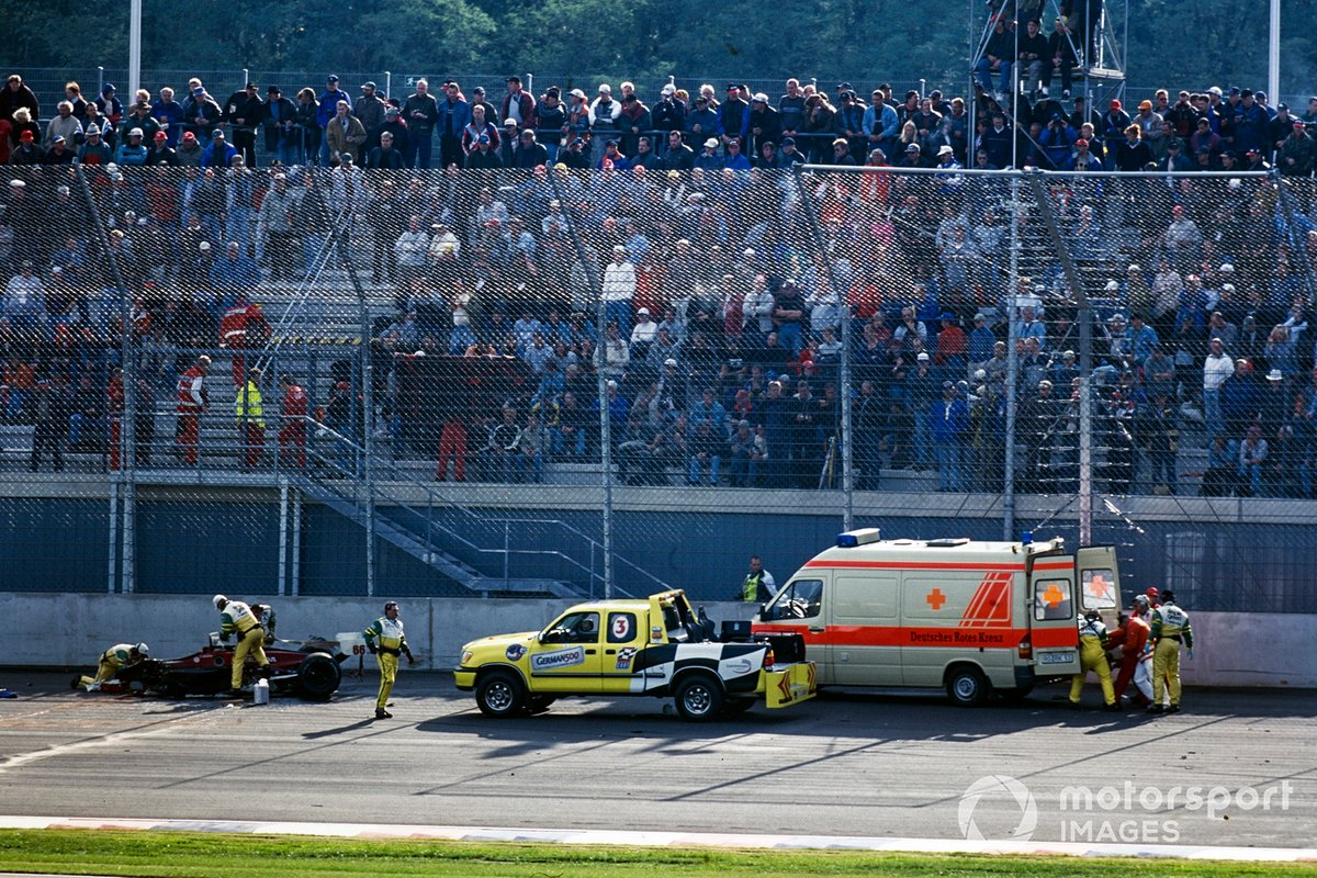 Lausitzring, Sept. 15, 2001. The absence of the front of Zanardi's car tells its own grim tale.