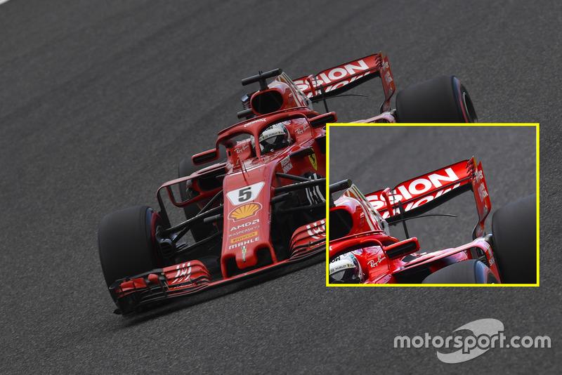 Sebastian Vettel, Ferrari SF71H, comparación alerón trasero sábado en Suzuka.