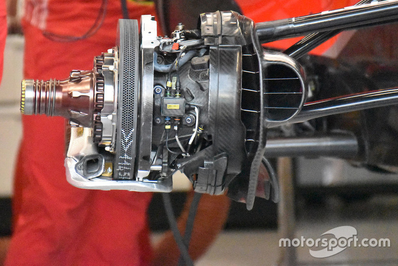Detalle técnico del conjunto de freno Ferrari