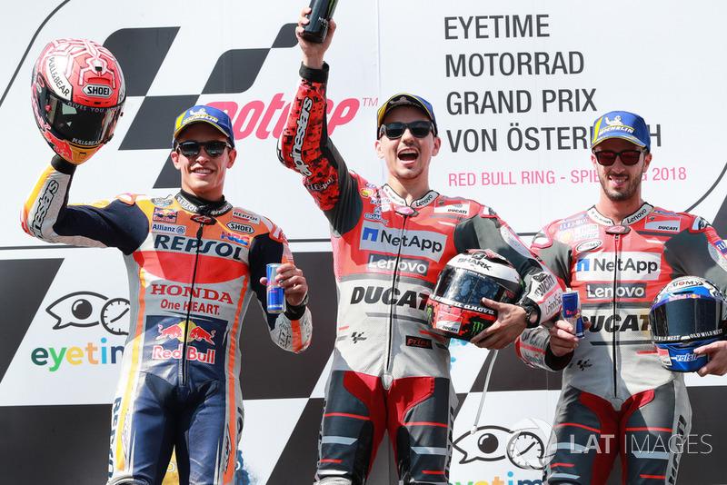 #11 GP d'Autriche - Podium : Jorge Lorenzo, Marc Márquez, Andrea Dovizioso