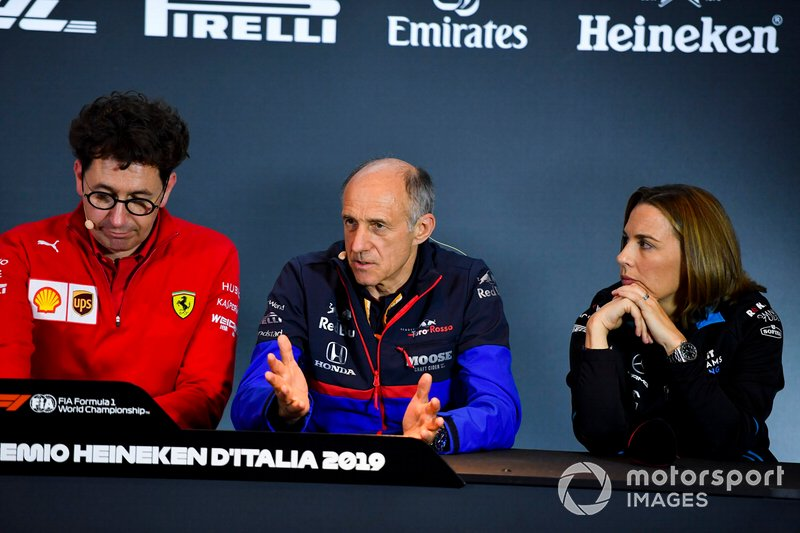 Mattia Binotto, Team Principal Ferrari, Franz Tost, Team Principal, Toro Rosso, and Claire Williams, Deputy Team Principal, Williams Racing, in a Press Conference