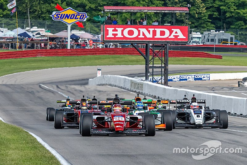 Kyle Kirkwood's RP Motorsport entry leads the Indy Pro pack at Mid-Ohio.