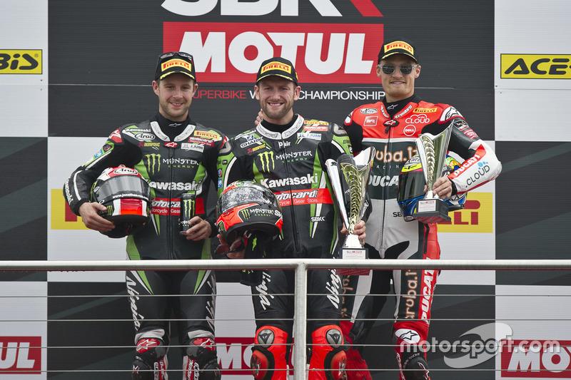 Podium : Sieger Tom Sykes, Kawasaki Racing Team, 2. Jonathan Rea, Kawasaki Racing Team, 3. Chaz Davies, Aruba.it Racing - Ducati Team