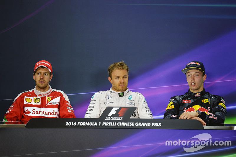 Press conference: winner Nico Rosberg, Mercedes AMG F1 Team, second place Sebastian Vettel, Ferrari, third place Daniil Kvyat, Red Bull Racing