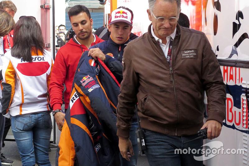 Marc Marquez, Repsol Honda Team after hurting his shoulder