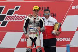 Podium: winner Francesco Bagnaia, Aspar Team Mahindra with Jorge Martín