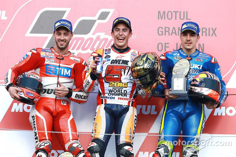 1. Marc Marquez, 2. Andrea Dovizioso, 3. Maverick Vinales
