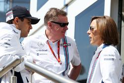 Felipe Massa, Williams met Mike O'Driscoll, Williams Group CEO en Claire Williams, Williams teambaas