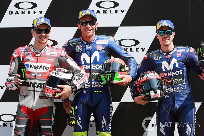 Polesitter Valentino Rossi, Yamaha Factory Racing, second place Jorge Lorenzo, Ducati Team, third place Maverick Viñales, Yamaha Factory Racing