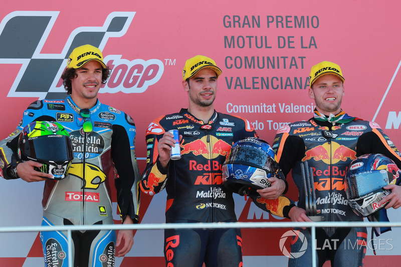 Podium: second place Franco Morbidelli, Marc VDS, Race winner Miguel Oliveira, Red Bull KTM Ajo, third place Brad Binder, Red Bull KTM Ajo