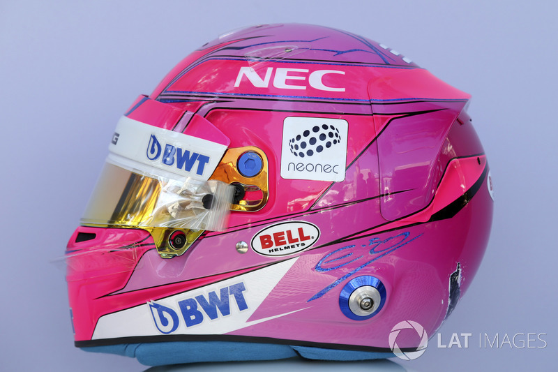 Casco de Esteban Ocon, Force India F1