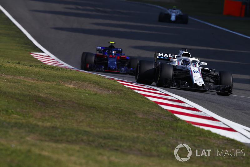 Lance Stroll, Williams FW41 Mercedes, Pierre Gasly, Toro Rosso STR13 Honda