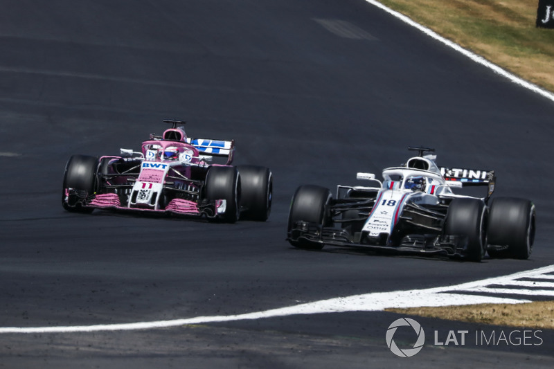 Sergio Perez, Force India VJM11 e Lance Stroll, Williams FW41