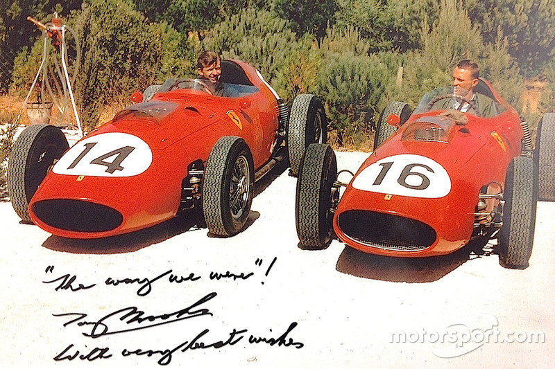 1959, Brooks and Gurney familiarize themselves with their Ferrari 246 Dinos. Tony sent Dan this image and note as a Christmas card just a few years before Dan died in 2018.