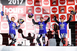 Podium: race winners Katsuyuki Nakasuga, Alex Lowes, Michael Van Der Mark, Yamaha Factory Racing Tea