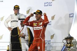 Podium: winner Sebastian Vettel, Ferrari, third place Valtteri Bottas, Mercedes AMG F1