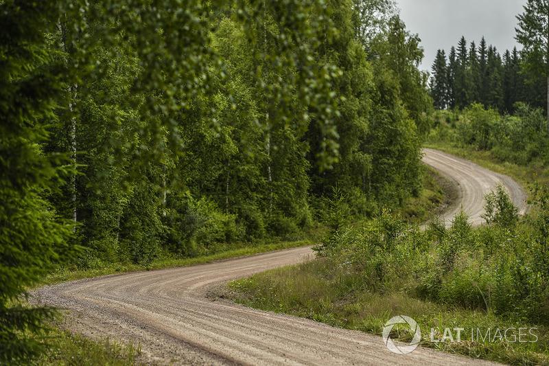 Schotterpisten der Rallye Finnland