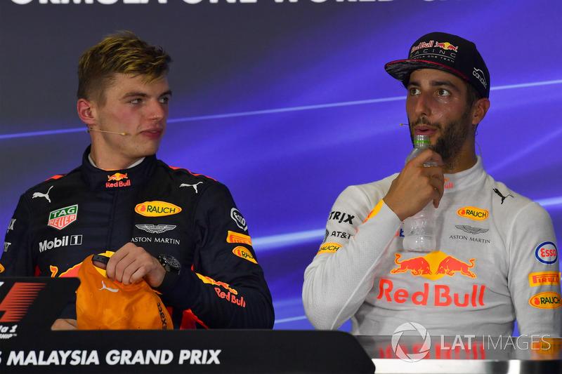 Max Verstappen, Red Bull Racing and Daniel Ricciardo, Red Bull Racing in the Press Conference