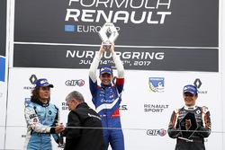 Podium: race winner Robert Shwartzman, Josef Kaufmann Racing, Max Defourny, R-ace GP, Sacha Fenestraz, Josef Kaufmann Racing
