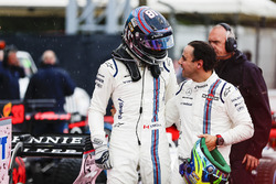 Lance Stroll, Williams, Felipe Massa, Williams, in Parc Ferme after Qualifying