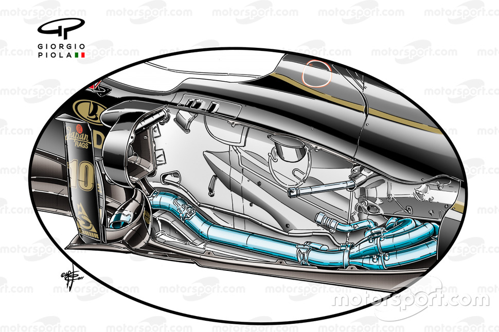 Lotus Renault R31 removed side pods, forward exhausts design