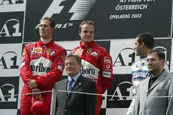 Podium: race winner Michael Schumacher, Ferrari, second place Rubens Barrichello, Ferrari, third place Juan Pablo Montoya, Williams