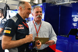 Franz Tost, Scuderia Toro Rosso Team Principal and Chase Carey, Chief Executive Officer and Executive Chairman of the Formula One Group in the garage
