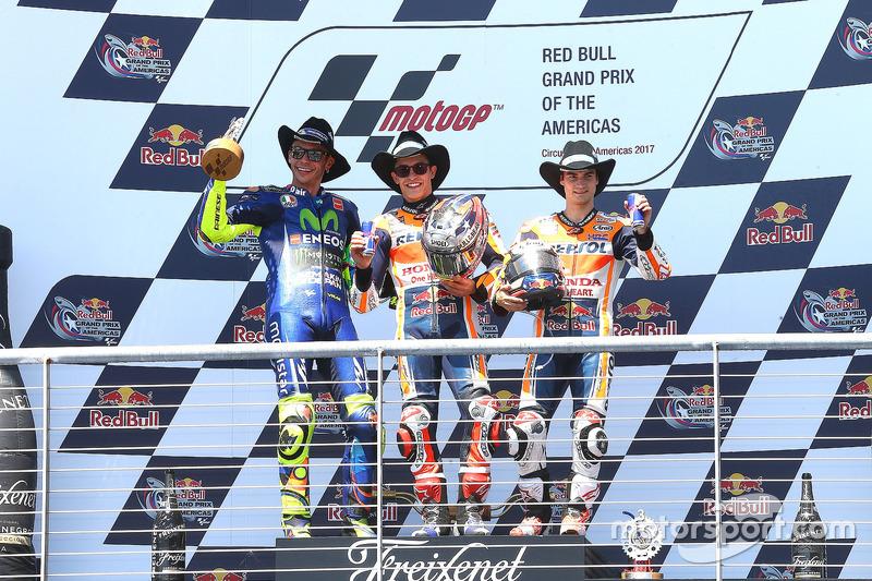 Podium: ganador, Marc Márquez, Repsol Honda Team, segundo, Valentino Rossi, Yamaha Factory Racing, tercero, Dani Pedrosa, Repsol Honda Team