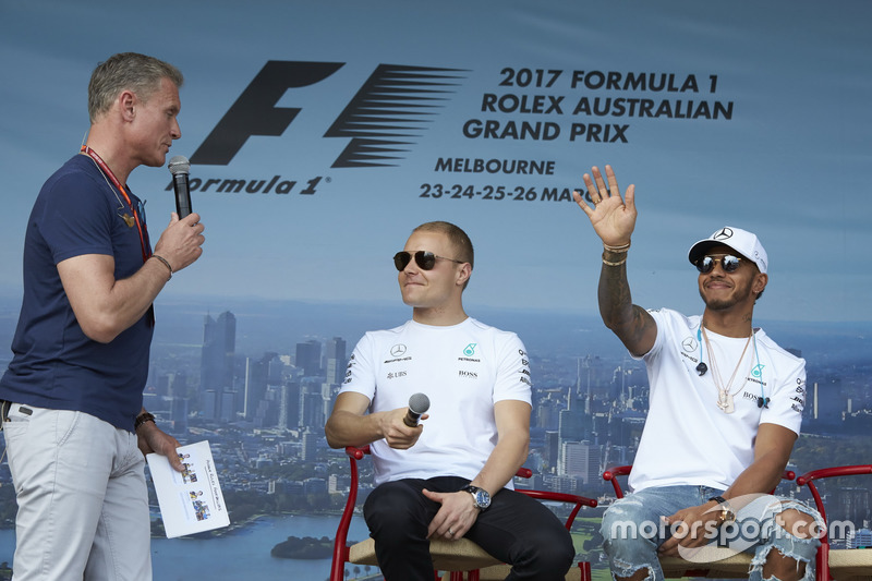 Valtteri Bottas, Mercedes AMG F1; Lewis Hamilton, Mercedes AMG F1; David Coulthard, Channel 4 F1