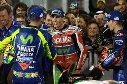 Переможець гонки Маверік Віньялес, Yamaha Factory Racing, третє місце Валентино Россі, Yamaha Factory Racing, Алейш Еспаргаро, Aprilia Racing Team Gresini