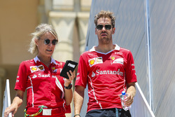 Sebastian Vettel, Ferrari, his PA Britta Roeske