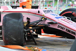 The crashed car of Sergio Perez, Sahara Force India VJM10 is recovered after FP1
