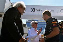 Flavio Briatore, Bernie Ecclestone, Christian Horner, Team Principale Red Bull Racing