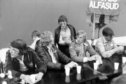 Peter Warr, Lotus team manager, Ian Scheckter, Max Mosley, Bernie Ecclestone, James Hunt and Ken Tyrrell