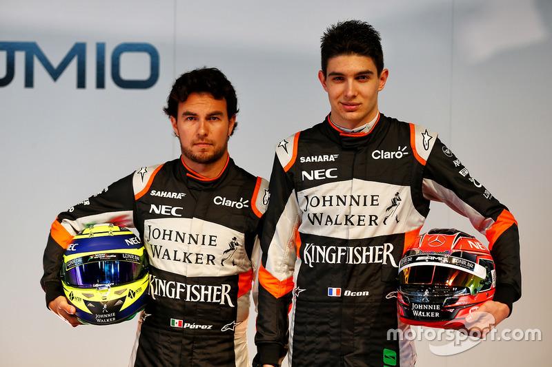 Sergio Perez, Sahara Force India F1; Esteban Ocon, Sahara Force India F1 Team