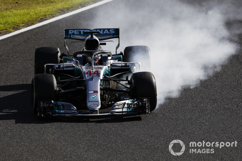 Lewis Hamilton, Mercedes AMG F1 W09, bloque ses roues
