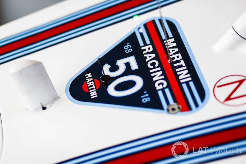 A badge celebrating 50 years on the Williams FW41