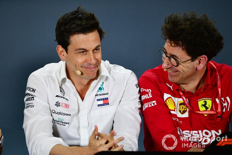 Toto Wolff, Executive Director (Business), Mercedes AMG, and Mattia Binotto, Team Principal Ferrari