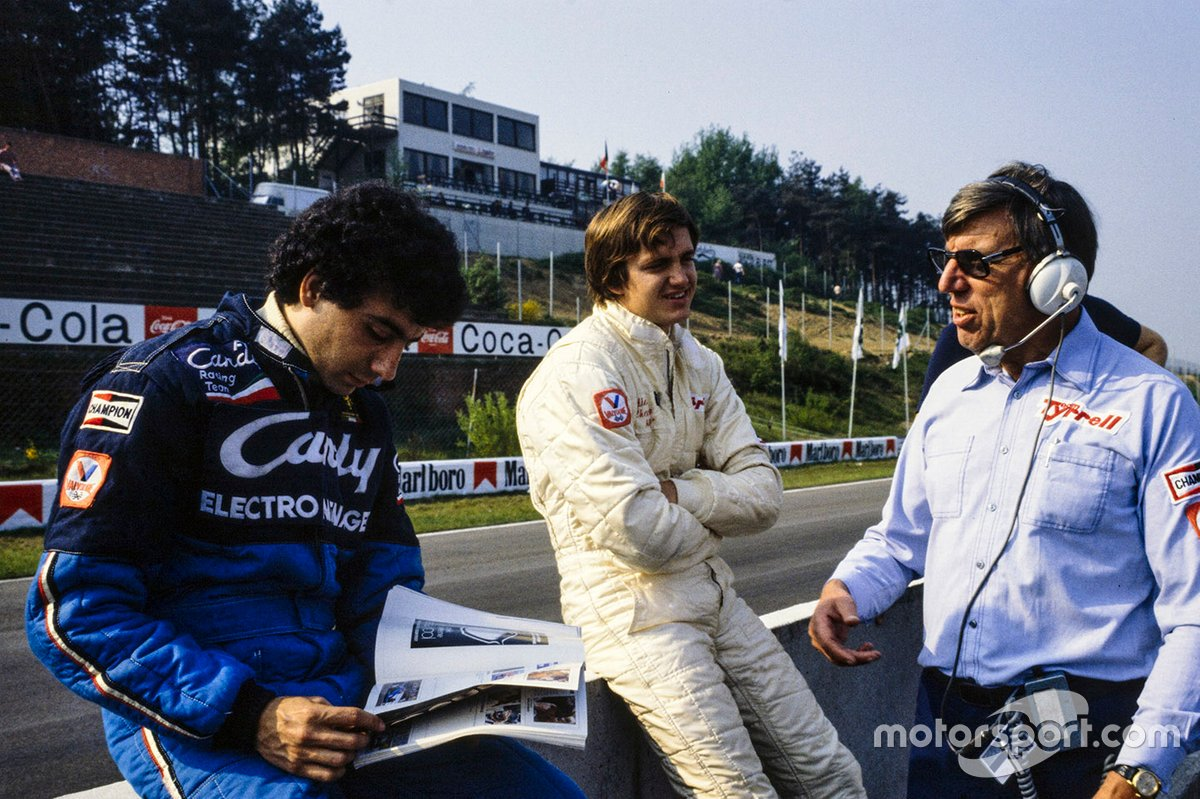 Michele regarded working with Ken Tyrrell as essential to his fledgling F1 career. Partnering the same driver in both sportscars and F1 – Eddie Cheever – provided a good baseline too.