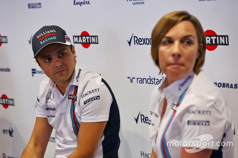 (L to R): Felipe Massa, Williams and Claire Williams, Williams Deputy Team Principal. Felipe announces his retirement from F1 at the end of the season