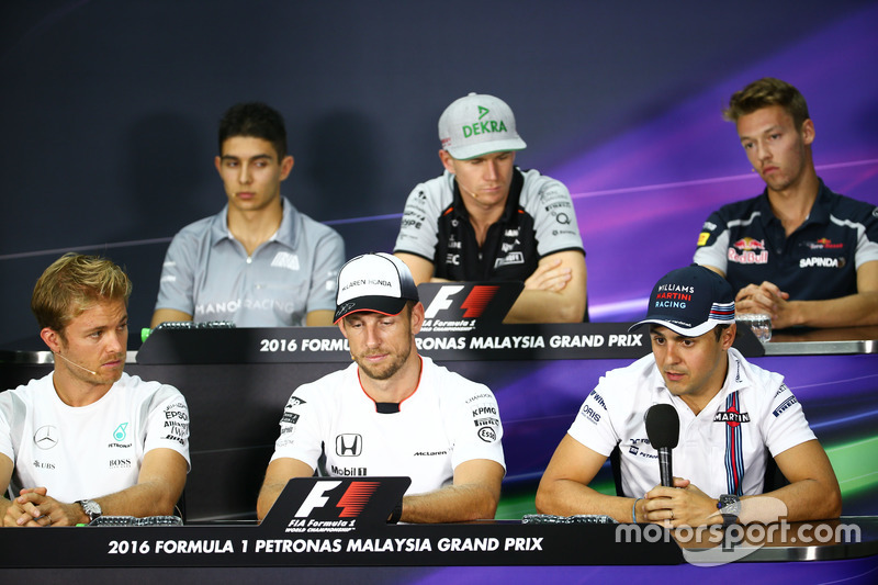 The FIA Press Conference (from back row (L to R)): Esteban Ocon, Manor Racing; Nico Hulkenberg, Saha