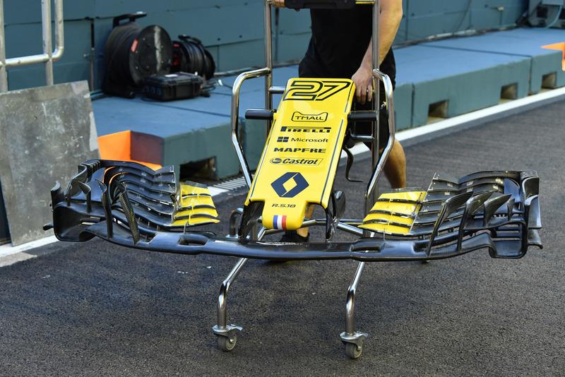El morro y alerón delantero del Renault Sport F1 Team RS 18