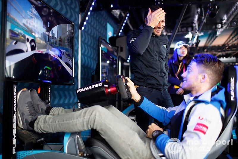 Gary Paffett, HWA Racelab watches as Edoardo Mortara, Venturi Formula E takes part in the E-Race