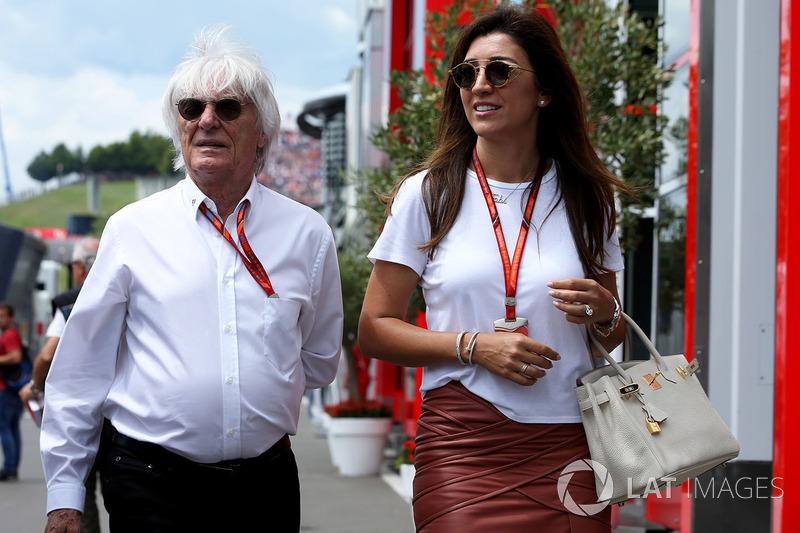 Bernie Ecclestone, Chairman Emeritus of Formula 1, his wife