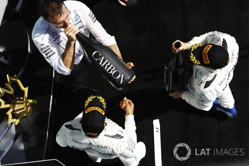 Lewis Hamilton, Mercedes AMG F1 and Valtteri Bottas, Mercedes AMG F1 on the podium