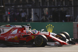 Sebastian Vettel, Ferrari SF70H, battles, Felipe Massa, Williams FW40, at the restart