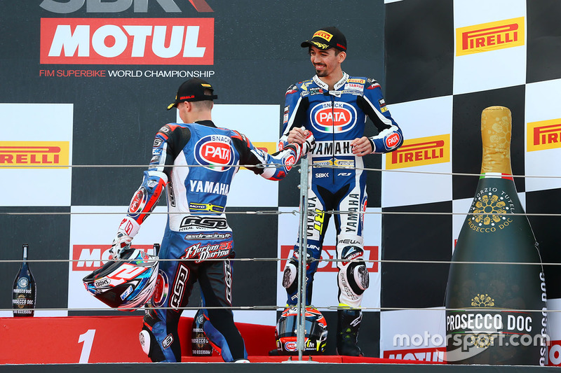Podium: second place Florian Marino, Pata Yamaha Official STK 1000 Team, third place Roberto Tamburini, Pata Yamaha Official STK 1000 Team