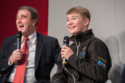 Nigel Mansell and Billy Monger on the Autosport Stage with Henry Hope-Frost
